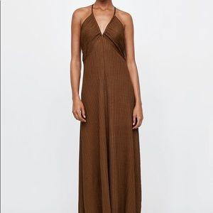 Zara knit dress with draped neckline